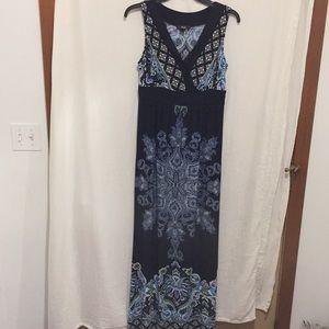 AGB Maxi Dress Blue & Black Boho design size Small